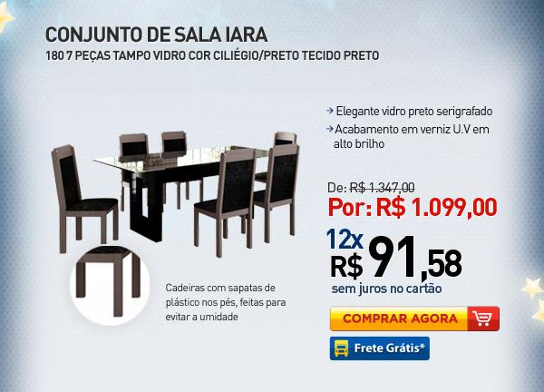 CONJUNTO DE SALA IARA 180 7 PE�AS TAMPO VIDRO COR CILI�GIO/PRETO TECIDO PRETO