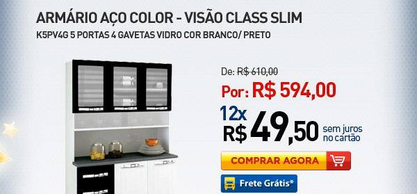 ARM�RIO A�O COLOR-VIS�O CLASS SLIM K5PV4G 5 PORTAS / 4 GAVETAS VIDRO COR BRANCO/ PRETO