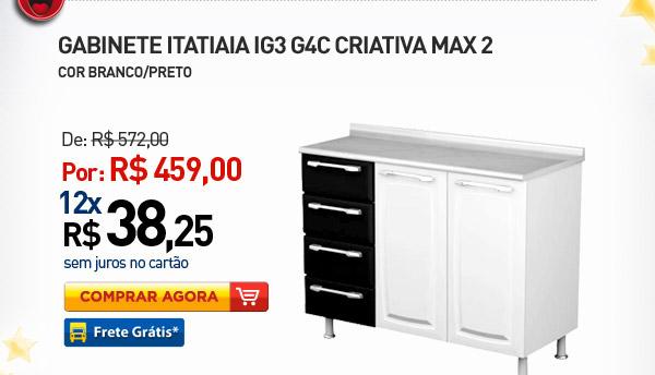 GABINETE ITATIAIA IG3 G4C CRIATIVA MAX 2 COR BRANCO/PRETO