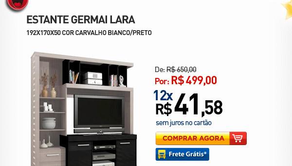 ESTANTE GERMAI LARA 192X170X50 COR CARVALHO BIANCO/PRETO