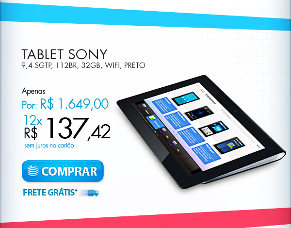 TABLET SONY 9,4 SGTP, 112BR, 32GB, WIFI, PRETO