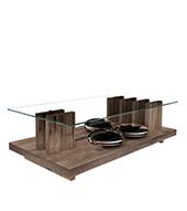 Mesa de Centro com Tampo de Vidro - Dj Móveis Íris - Belfort Oak