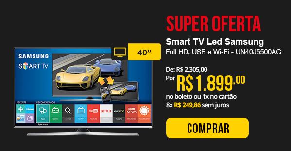 Smart TV LED Samsung 40, Full HD, USB e Wi-Fi - UN40J5500AG