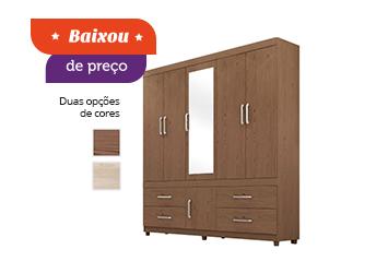 Guarda-roupa Demóbile Guarujá com Espelho, 6 Portas e 4 Gavetas