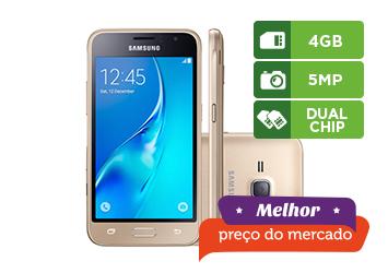 Smartphone Galaxy J1 Samsung, Dual, Memória 4 GB, Câmera 5 MP, Dourado - J120H