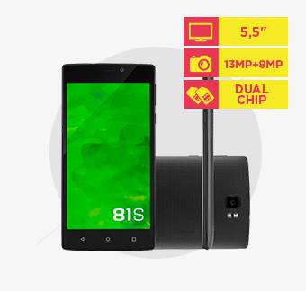Smartphone Mirage 81S 4G QuadCore 2GB RAM Dual Câmera 13MP+8MP Tela 5,5 Dual Chip Android 5 Preto - P9028
