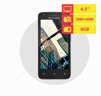 Smartphone Multilaser MS45 S Colors Preto Tela 4.5 Câmera 3 MP + 5 MP 3G Quad Core 8GB 1GB Android 5.0 - P9011