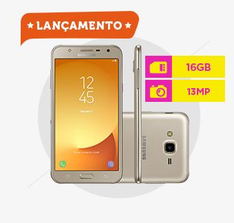 Smartphone Samsung Galaxy J7, Câmera 13MP, Octa-Core, 16 GB, Dourado - J701M