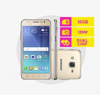 Smartphone Galaxy J5 Samsung, Dual, Memória 16 GB, Câmera 13 MP, Dourado - J500M