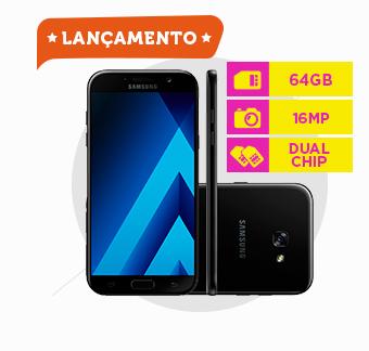 Smartphone Samsung Galaxy A7, Memória 64GB, Câmera 16MP, Dual Chip, Preto - A720F