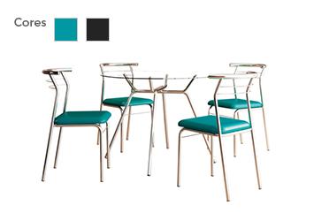 Conjunto Sala de Jantar Carraro com 4 Cadeiras em Aço Cromado, Tampo em Vidro - Carol
