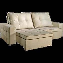 Sofá 2 Lugares com Tecido Veludo, Retrátil e Reclinável