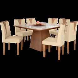Mesa de Jantar, 8 Cadeiras, Com Tampo de Vidro - Lj Móveis Pietra - Castanho Fosco / Animale Bege II