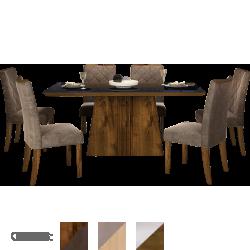 Mesa de Jantar 6 Cadeiras Golden com Tecido Suede Pena, 170x90cm - DJ Móveis Itália