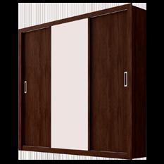 Guarda-roupa em MDP e MDF com Pés, 3 Portas e 2 Gavetas, Espelho - Demóbile Residence - Branco