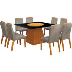 Mesa de Jantar Grécia, Com Prato Giratório, 8 Cadeiras, MDF - Leifer Móveis - Imbuia Mel / África Rato
